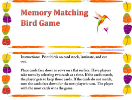 Bird Matching File Folder Game