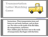 Transportation File Folder Game